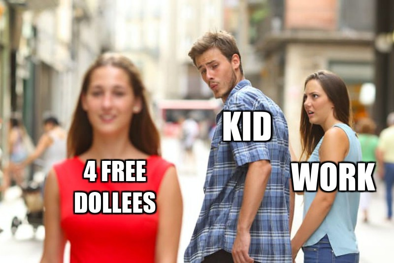 Kid; Work; 4 free dollees