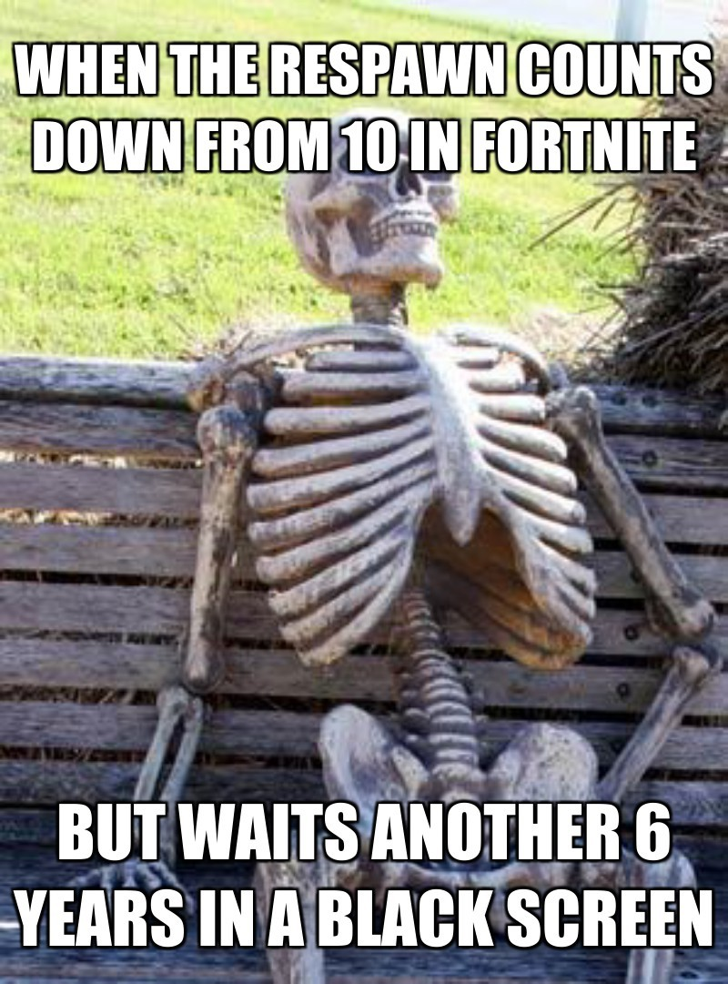When the respaWn counts down from 10 in Fortnite; But waits another 6 years in a black screen