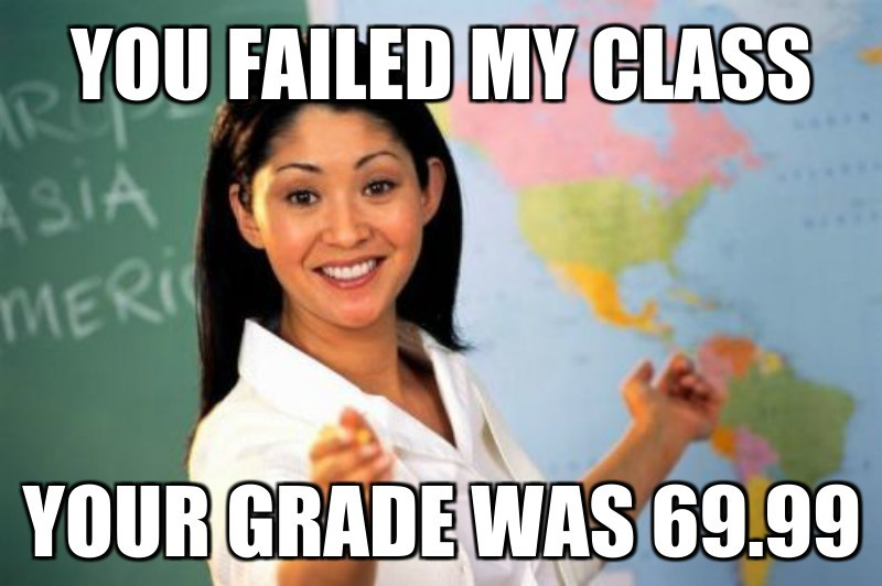 You failed my class; Your grade was 69.99