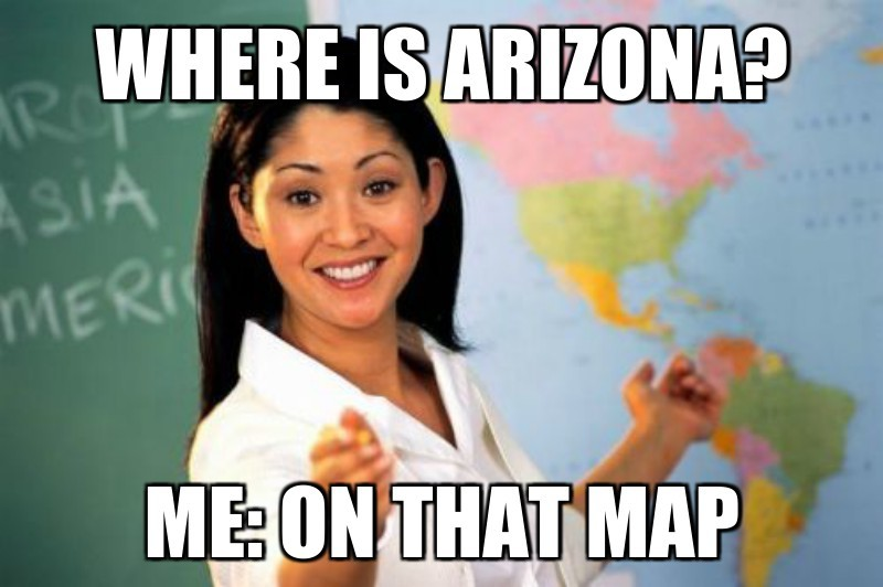 Where is arizona?; mE: on that map