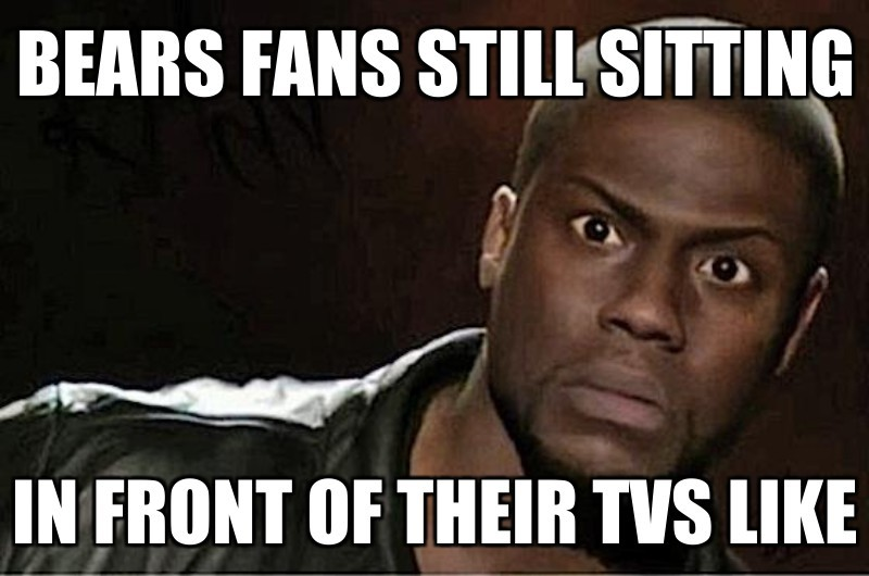 Bears fans still sitting; in front of their TVs like