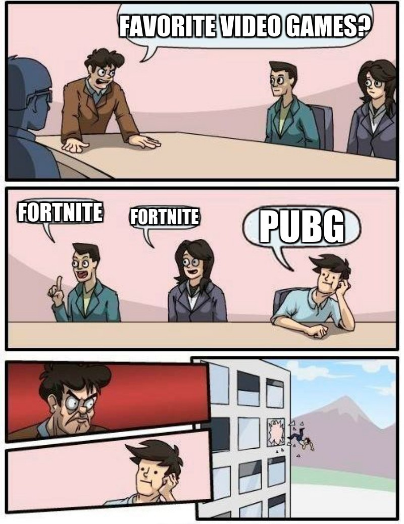 Favorite video games? ; Fortnite; Fortnite; Pubg