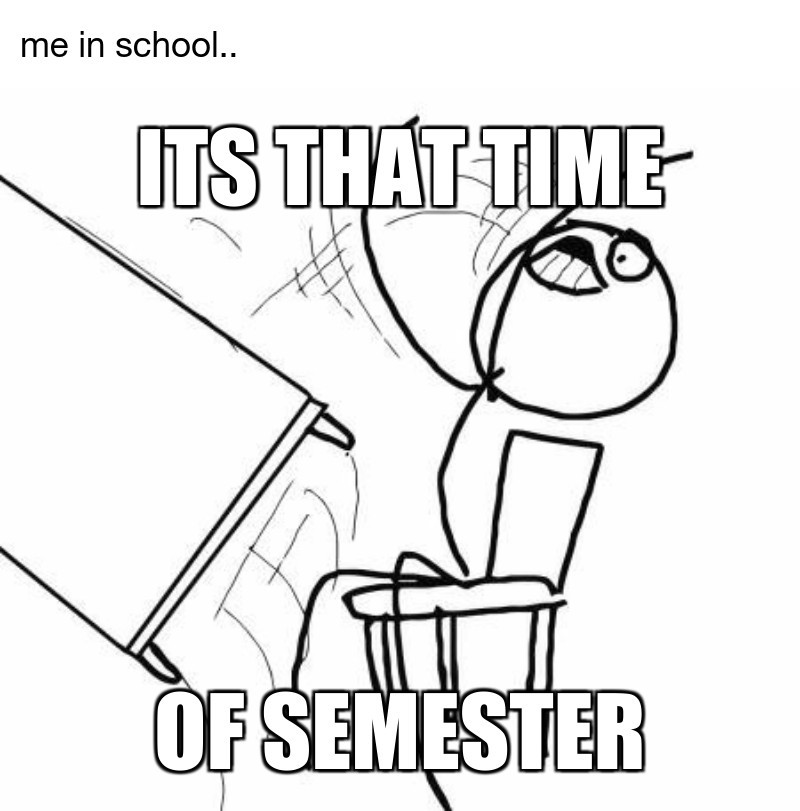 me in school..; of semester; its that time