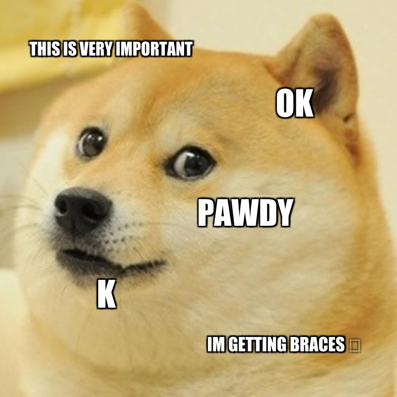 Im getting braces 🤣; Pawdy; K; Ok; This is very important
