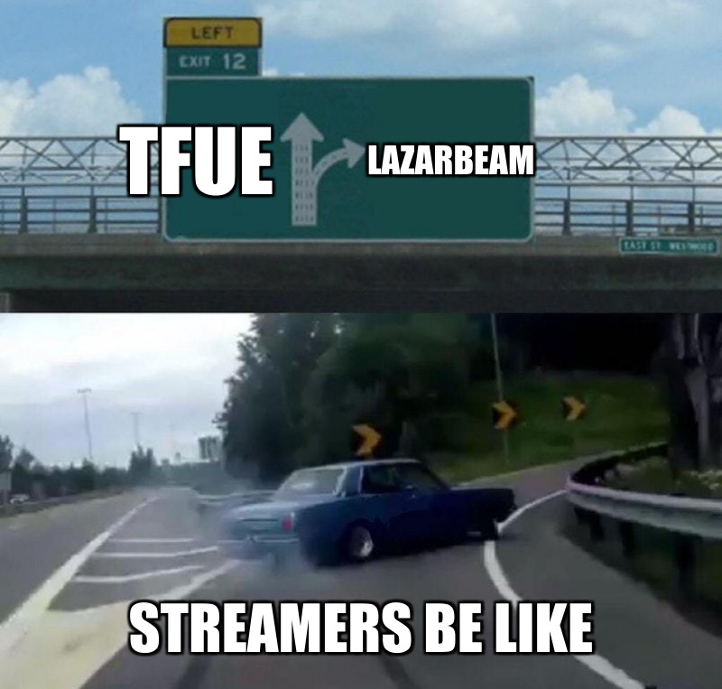 Streamers be like ; TFue; Lazarbeam