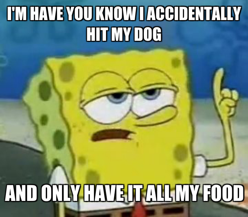 And only have it all my food; I'm have you know I ACCIDENTALLY hit my dog