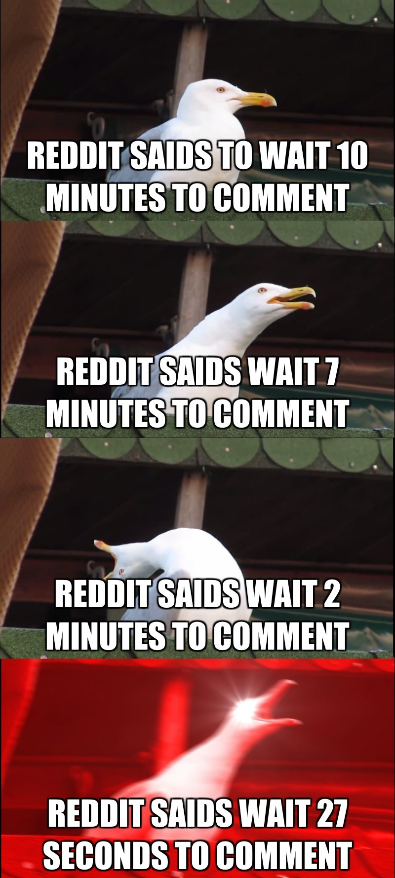 Reddit saids wait 7 minutes to comment; Reddit saids wait 2 minutes to comment; Reddit saids wait 27 seconds to comment; reddit saids to wait 10 minutes to comment
