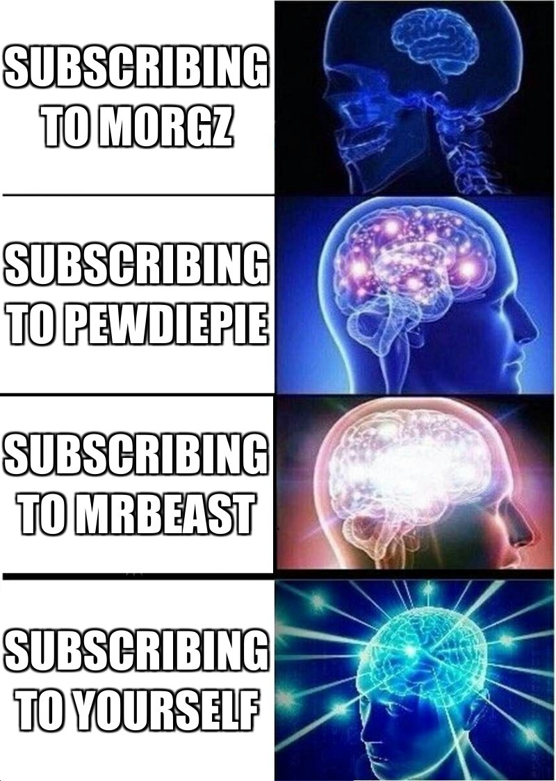 Subscribing to yourself;   SUbscrIbing to mrbeast;   Subscribing To pewdiepie;    Subscribing to morgz