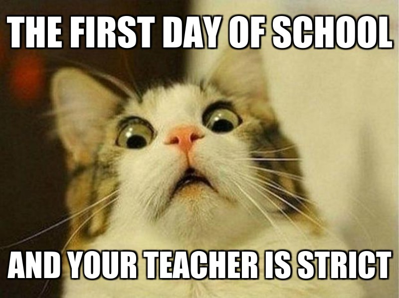 And your teacher is strict ; The first day of school