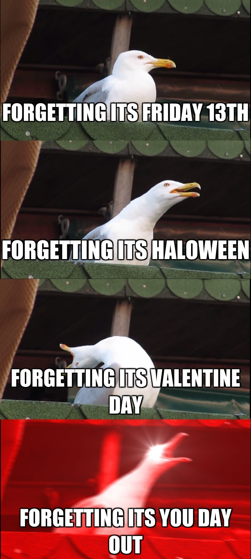 forgetting its you day out; Forgetting its Friday 13th; Forgetting its haloween; Forgetting its valentine day