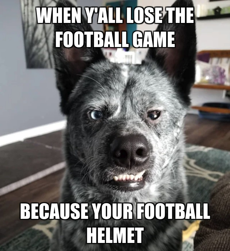 because your football HELMET; when Y'ALL lose the football game
